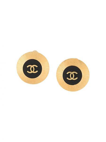 Czarny kolczyki ze sztyftem pozłacany okrągły wytłoczony Chanel Pre-owned