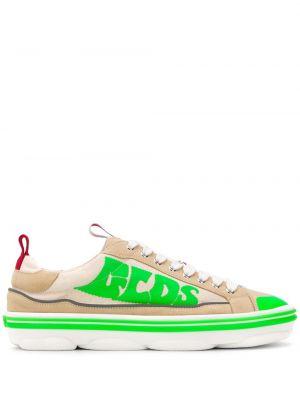 Кожаные кроссовки - серебряные Gcds