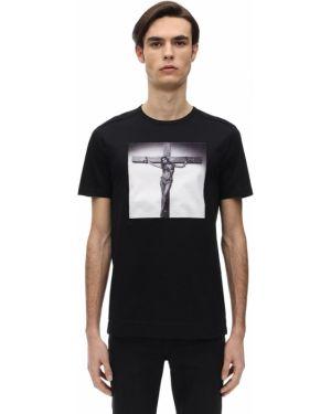 Бархатная футболка с круглым вырезом с аппликациями круглая Limitato