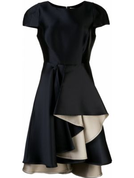 Приталенное шелковое платье мини на молнии с оборками Halston Heritage