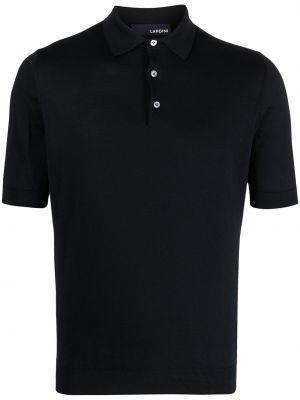 Niebieska koszula krótki rękaw bawełniana Lardini