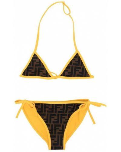 Żółty bikini z printem Fendi
