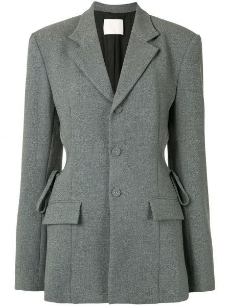 Серый пиджак на пуговицах с лацканами Dion Lee