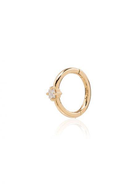 С ромбами золотистые желтые серьги-кольца с бриллиантом Lizzie Mandler Fine Jewelry