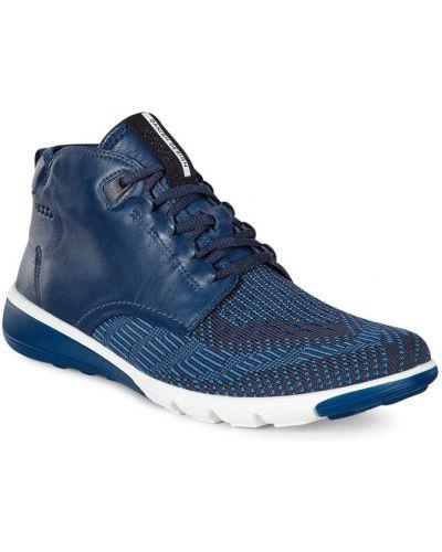 Высокие кроссовки на каблуке синий Ecco