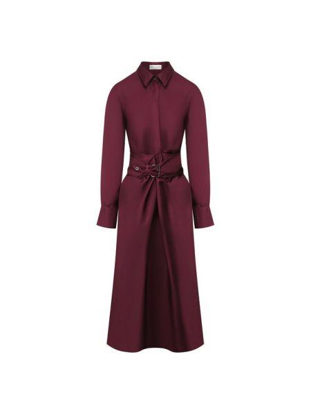 Платье с поясом шелковое осеннее Brunello Cucinelli
