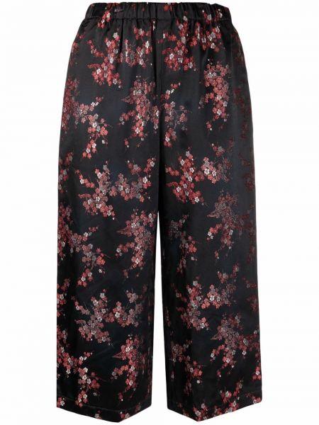 Черные укороченные брюки с карманами в цветочный принт Comme Des Garçons Comme Des Garçons