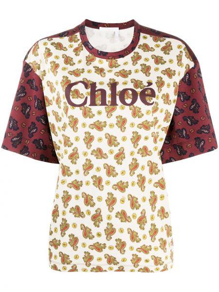 Хлопковая прямая футболка с круглым вырезом круглая Chloé