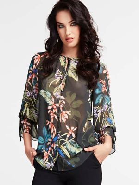 Bluzka w kwiaty - zielona Marciano Guess