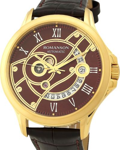 Часы механические водонепроницаемые с кожаным ремешком Romanson