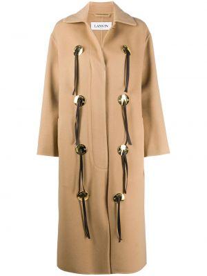 Коричневое кашемировое длинное пальто с воротником Lanvin
