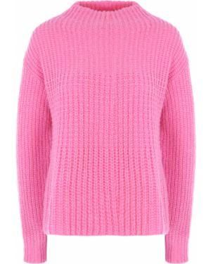 Шерстяной розовый свитер крупной вязки с воротником Hugo Boss