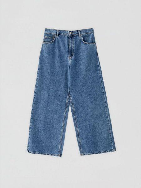 Широкие джинсы расклешенные синие Pull&bear