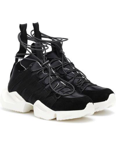 Кожаные кроссовки замшевые черные Unravel