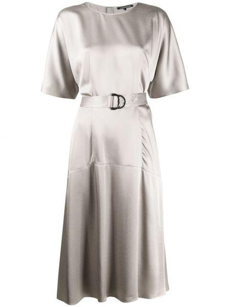 Платье миди с короткими рукавами - серое Luisa Cerano