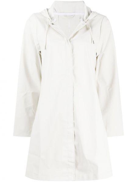 Biały płaszcz przeciwdeszczowy z długimi rękawami z kapturem Rains