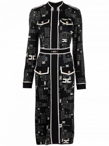 Платье макси с длинными рукавами - черное Elisabetta Franchi