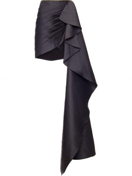 Черная асимметричная юбка мини с оборками с драпировкой Patbo