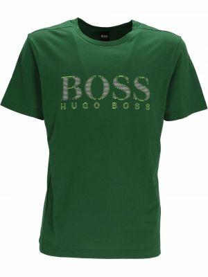 Zielona koszulka bawełniana Boss Hugo Boss