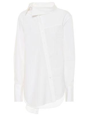 Хлопковая белая асимметричная рубашка стрейч Monse