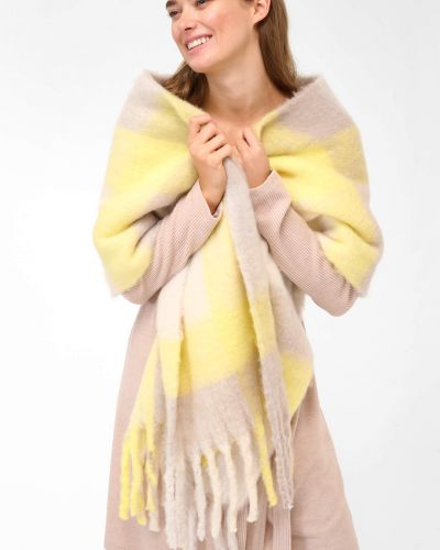Szalik z frędzlami - żółty Orsay