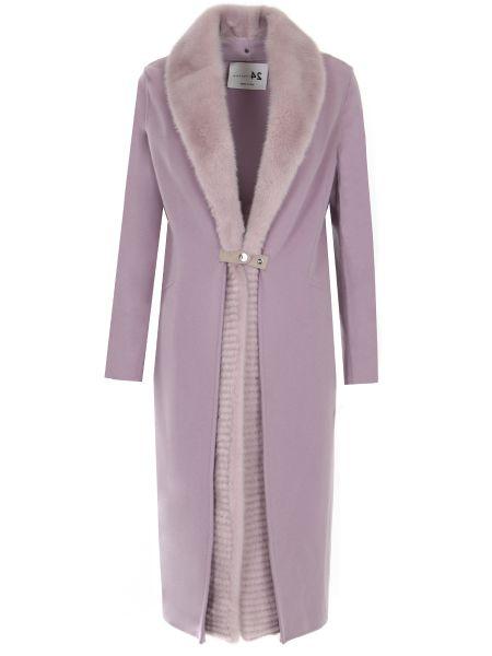 Свободное шерстяное розовое пальто классическое с воротником Manzoni 24
