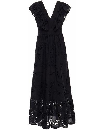 Хлопковое черное платье макси с вышивкой Paul & Joe