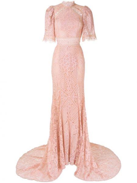Розовое платье с воротником с рукавом 3/4 свободного кроя Martha Medeiros