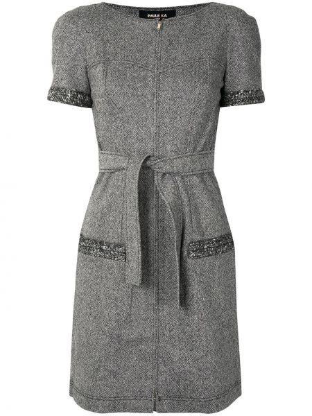 Серое платье мини твидовое с вырезом на молнии Paule Ka