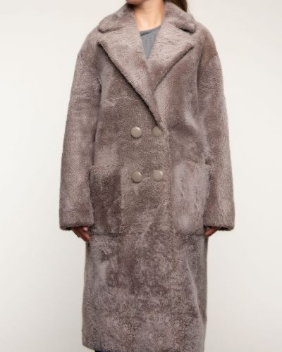 Прямое бежевое пальто с воротником Alcato