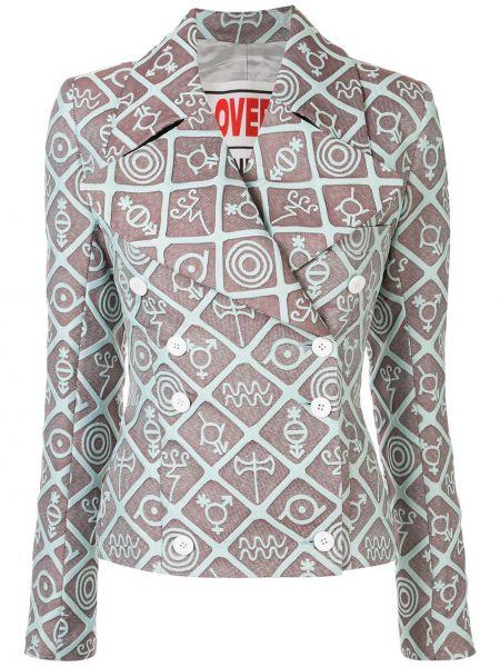 Коричневый пиджак двубортный с воротником Charles Jeffrey Loverboy