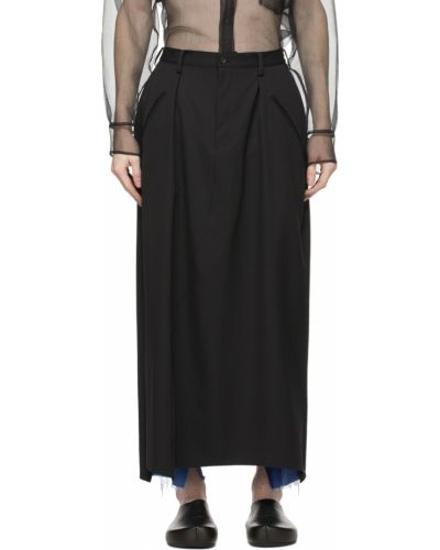 Czarne satynowe spodnie Sulvam