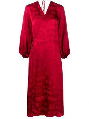 Satynowa sukienka kopertowa z printem Kirin