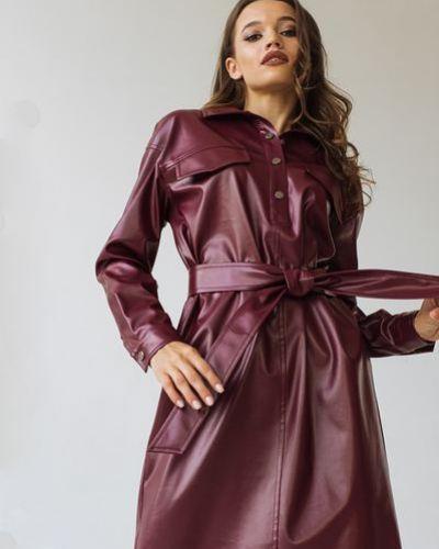 Кожаное розовое модное платье-рубашка Vovk