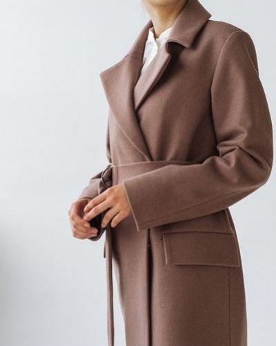 Шерстяное пальто с запахом с поясом Vovk