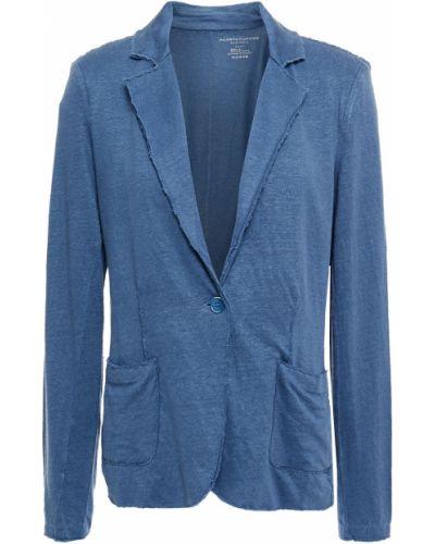 Трикотажный синий пиджак с накладными карманами Majestic Filatures