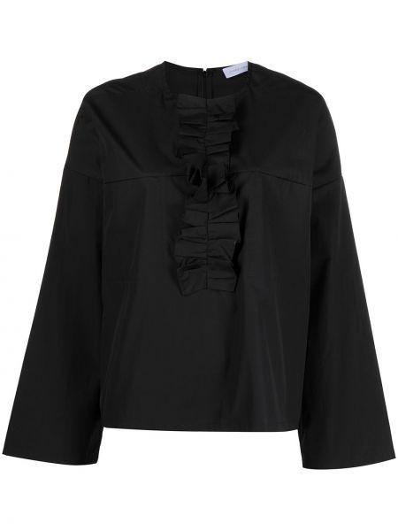 Хлопковая с рукавами черная блузка Christian Wijnants