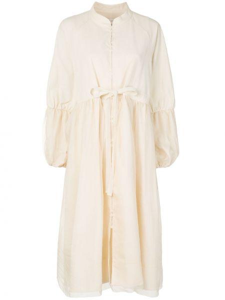 Расклешенное платье с воротником из поплина с высокой посадкой Renli Su