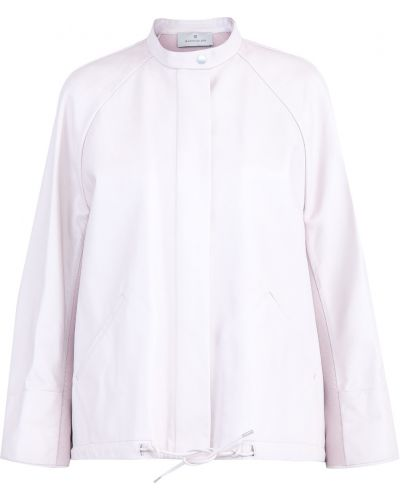 Кожаная куртка розовая на молнии Maison Ullens