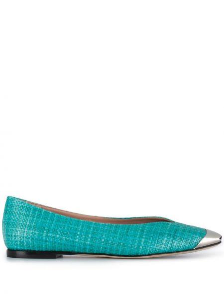 Синие кожаные балетки с квадратным носком Emilio Pucci
