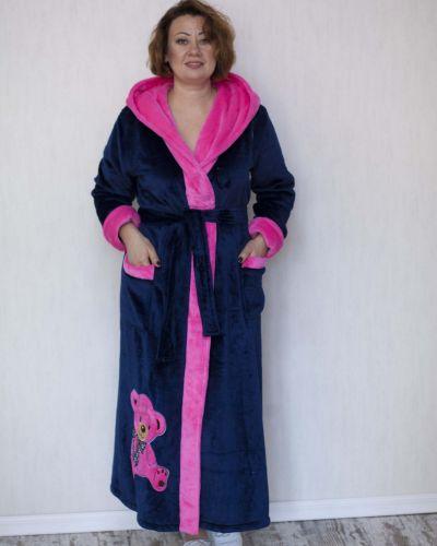 Махровый халат - синий Lily