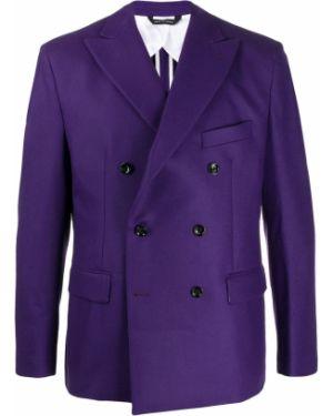 Сиреневый приталенный классический пиджак двубортный Lc23