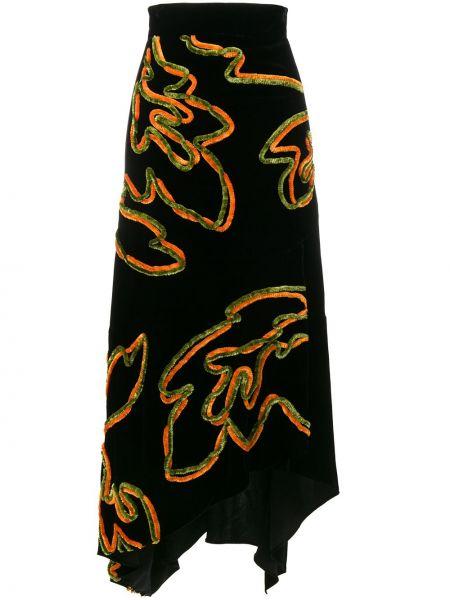 Шелковая черная асимметричная юбка Peter Pilotto