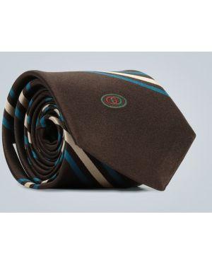Синий галстук с вышивкой Gucci