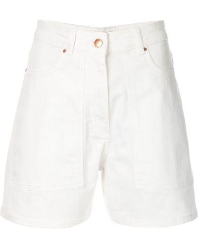 Белые джинсовые шорты с карманами со стразами Aalto