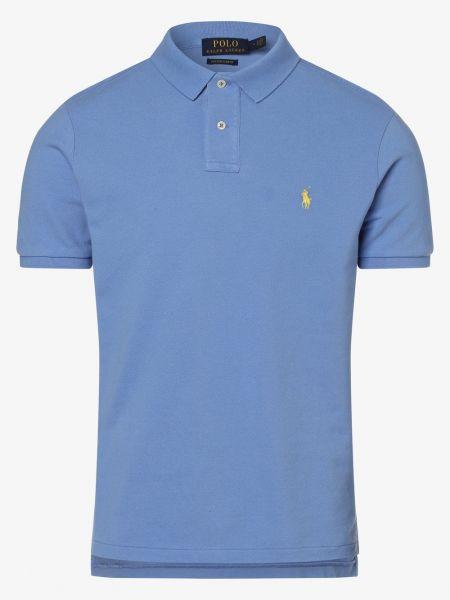 Niebieski t-shirt z haftem Polo Ralph Lauren