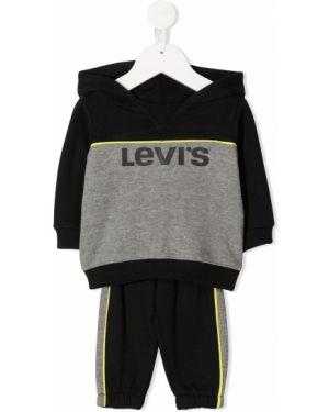 Czarny dres bawełniany z kapturem Levis Kids