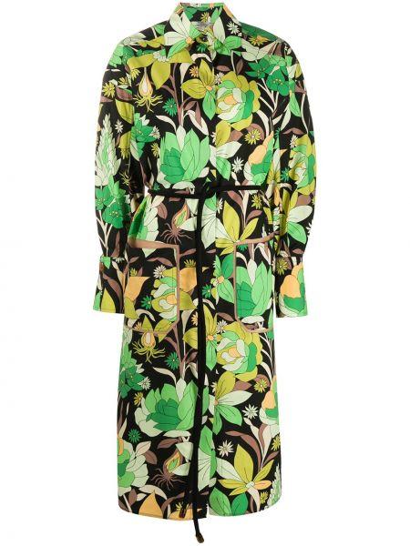 Платье миди на пуговицах с цветочным принтом Fendi