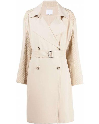 Бежевое длинное пальто двубортное с вышивкой Lala Berlin