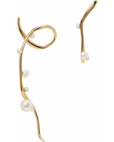 Złote kolczyki sztyfty perły asymetryczne Faris